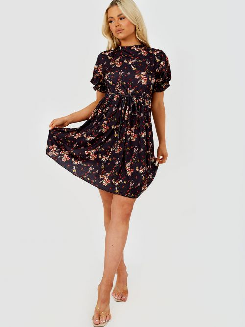Gill Floral Print Tie Knot Frill Dress in Black