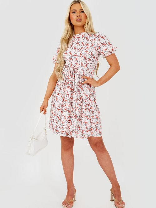 Gill Floral Print Tie Knot Frill Dress in White