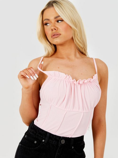 Kath Seam Detail Lettuce Frill Bust Cami Top In Pink