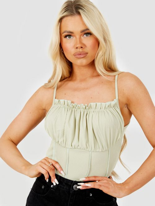 Kath Seam Detail Lettuce Frill Bust Cami Top In Green