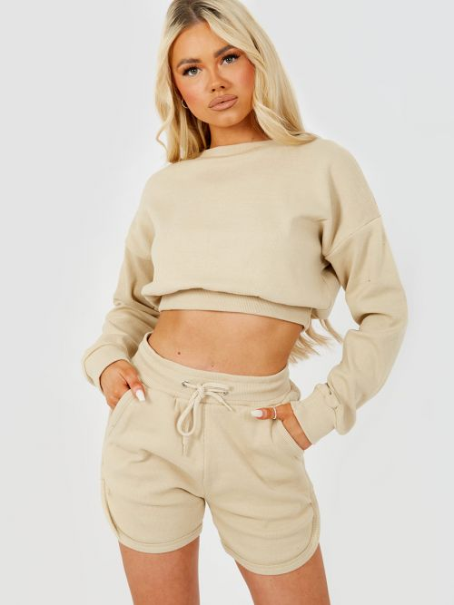 Levi Ribbed Crop Top & Shorts Co-ord In Stone