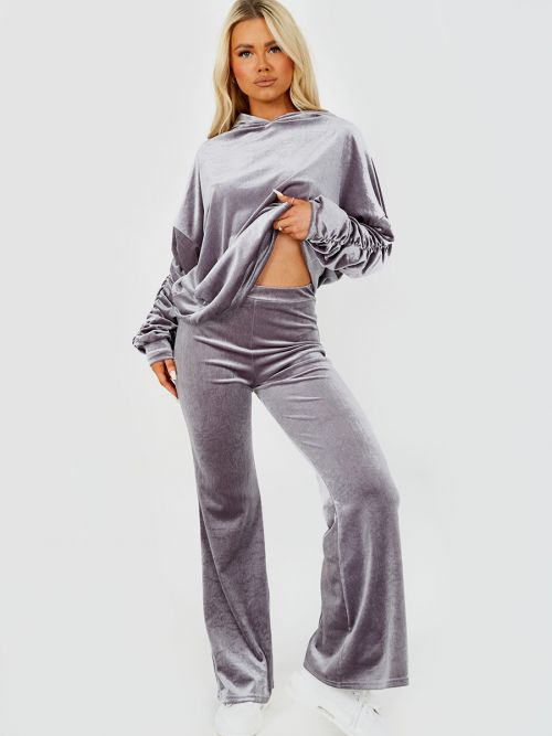Valeria Velour Ruched Sleeve Hoodie & Flared Trouser Co-ord In Grey