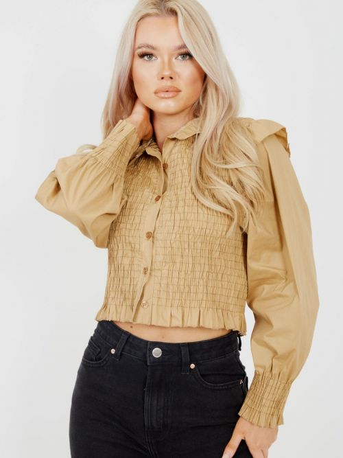 Julia Shirred Frill Detail Cropped Shirt Blouse In Mocha