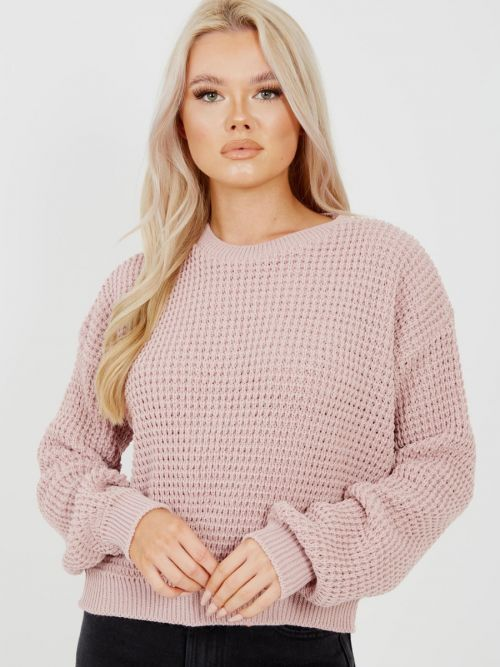 Cliona Fisherman Knitted Cropped Jumper In Rose