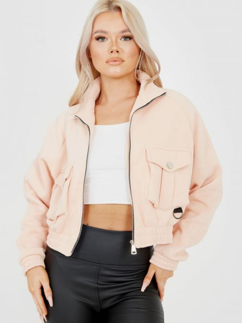 Linda Utility Pocket Thick Cropped Jacket In Pink