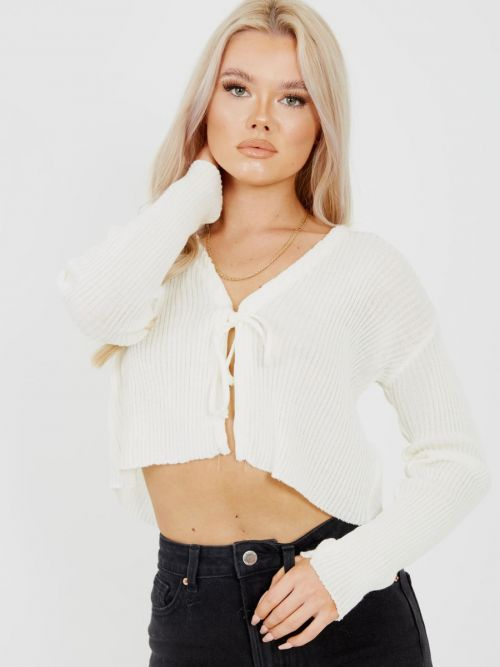 Anne Tie Front Knit Cardigan Top In Cream