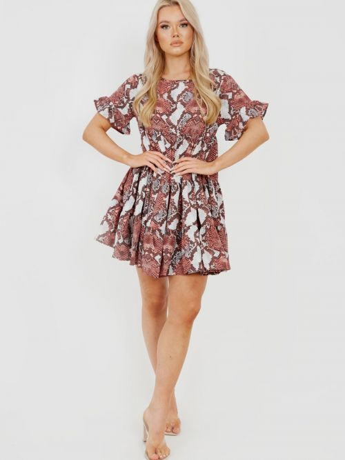 Rosana Snake Print Frill Tiered Smock Dress In Rust