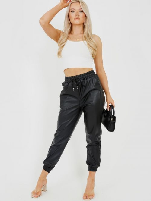 Miya Faux Leather PU Jogger Trousers In Black