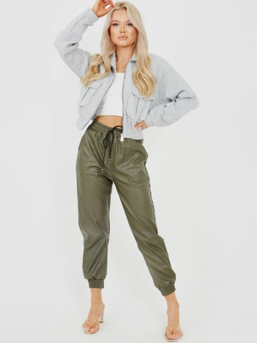 Miya Faux Leather PU Jogger Trousers In Khaki