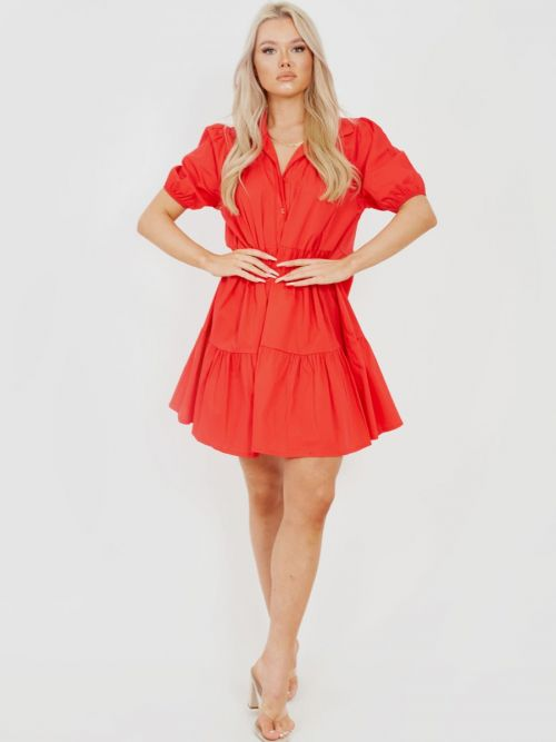 Mia Button-Front Tiered Smock Dress In Red