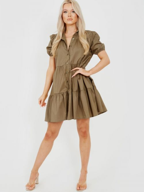 Mia Button-Front Tiered Smock Dress In Khaki