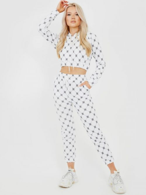 Lola Square Check Cropped Hoodie & Trouser Co-ord In White