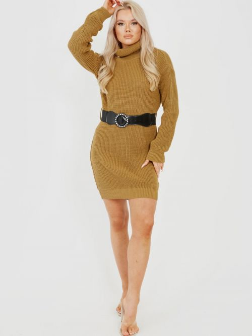 Poppy Roll Neck Knitted Dress With Belt In Camel