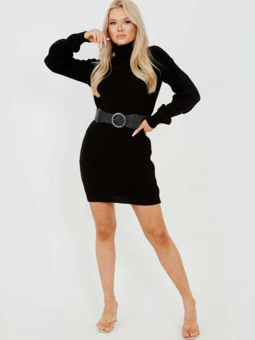 Poppy Roll Neck Knitted Dress With Belt In Black