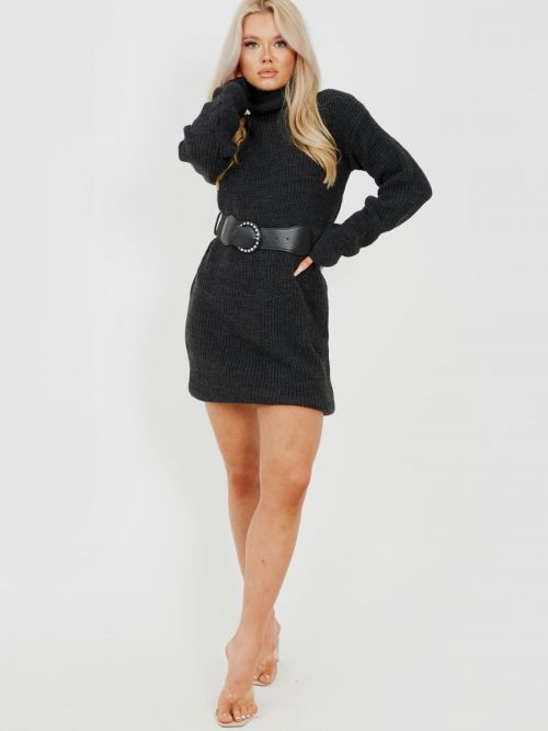 Poppy Roll Neck Knitted Dress With Belt In Charcoal