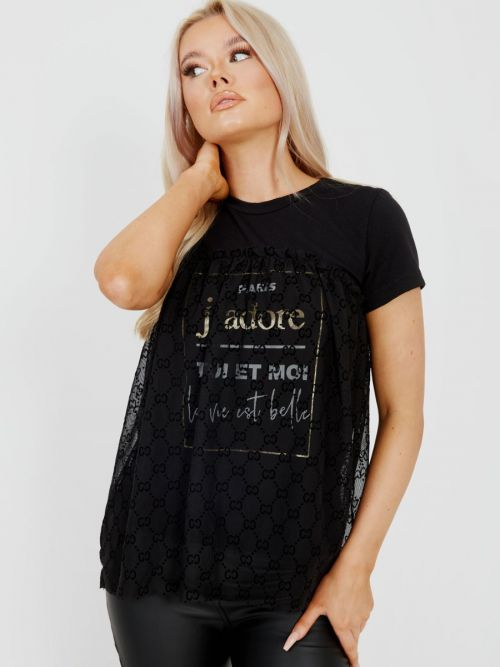 Gaynor Flocked Mesh Overlay J'adore Top In Black