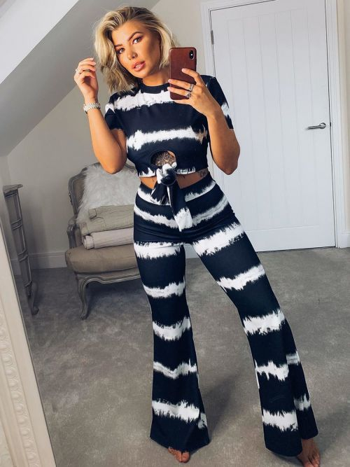 *OLIVIA BUCKLAND* Sidney Tie Dye Knot Front Crop Top & Trouser Co-ord In Black