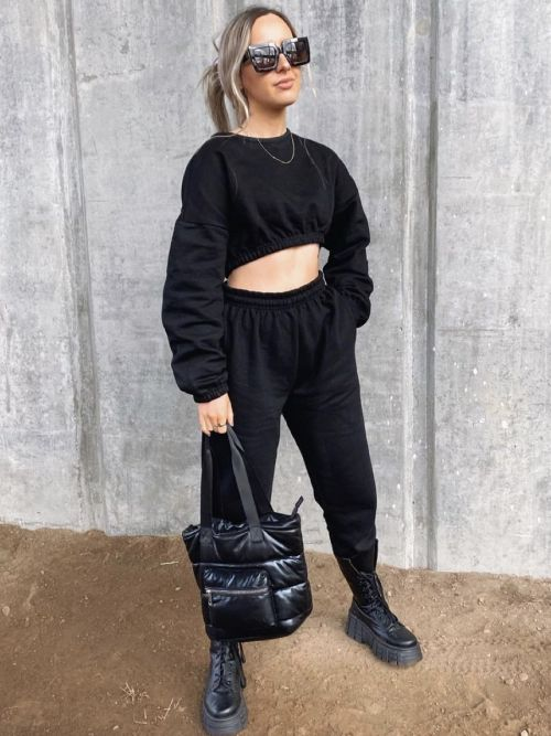 Skye Oversized Fleeced Crop Top & Jogger Co-ord In Black