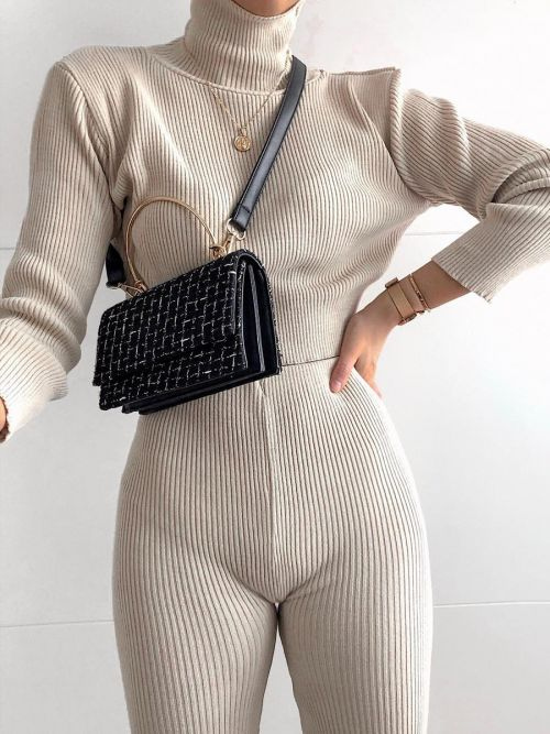 Stella Roll Neck Knitted Ribbed Loungewear Set In Stone