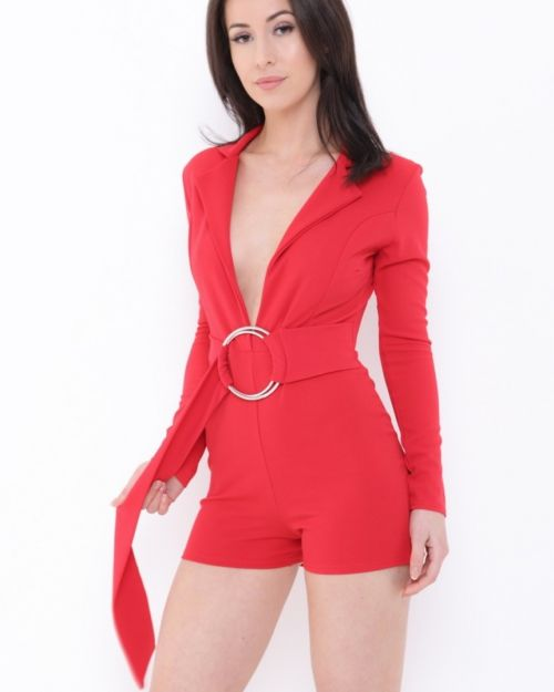 Londyn Ring Belt Playsuit In Red