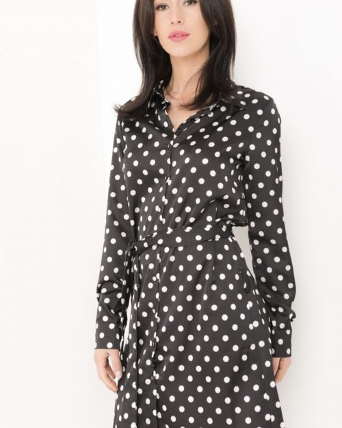 Ruby Satin Polka Dot Shirt Dress In Black