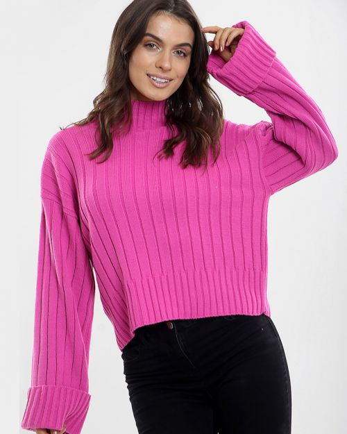 Karlie Turtle Neck Knitted Jumper In Fuchsia