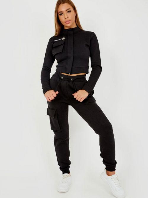 Angie Utility Pocket Zipped Fleece Tracksuit In Black