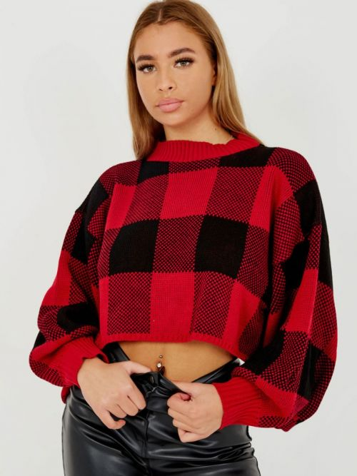Larra Oversized Checked Cropped Knitted Jumper In Red