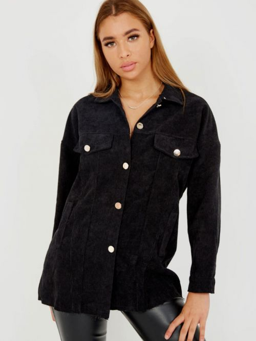 Robin Oversized Fit Corduroy Shirt In Black