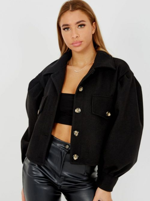 Amber Balloon Sleeve Thick Cropped Jacket In Black