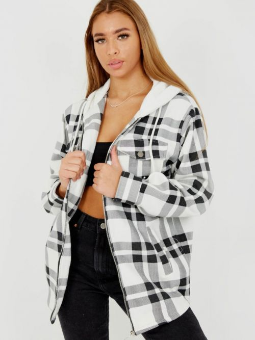 Lisa Thick Checked Shacket With Zip & Hood In White