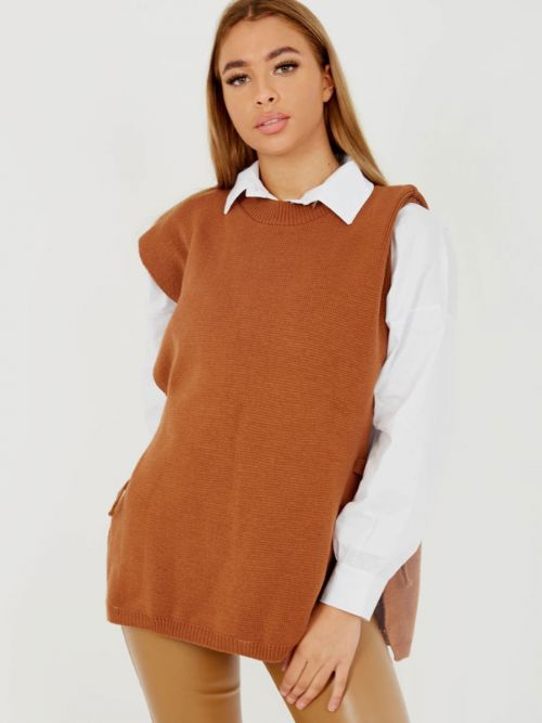 Kathrine Tie Side Crew Neck Knitted Vest In Rust