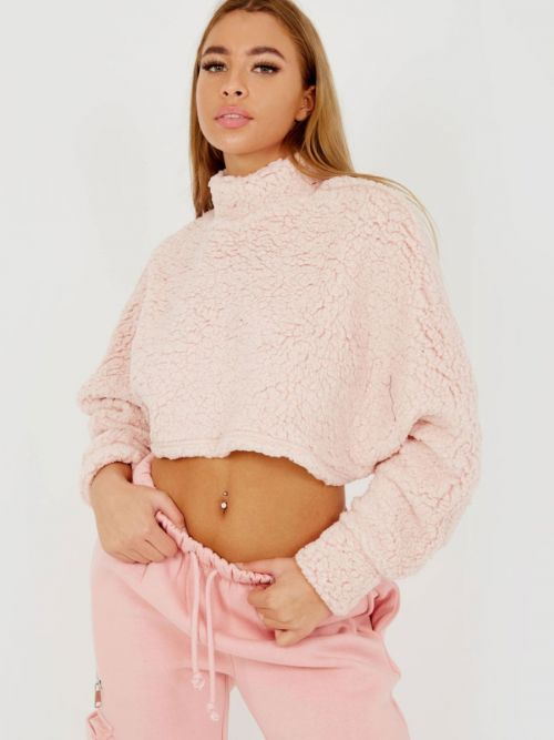 Marcela Teddy Bear Oversized Crop Top In Pink