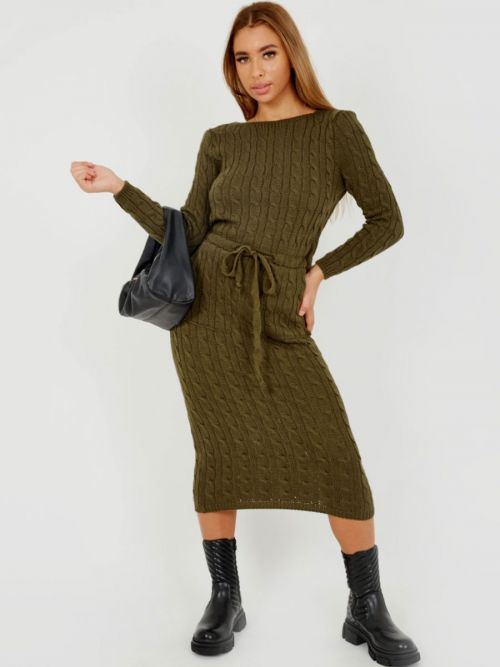 Leora Cable Knit Drawstring Waist Dress In Khaki