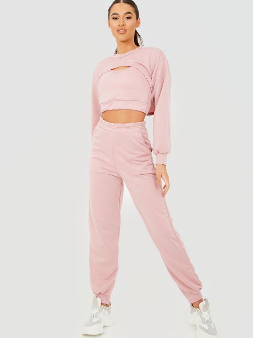 Venny 3 Piece Cut Out Crop Top Co-ord Set In Pink