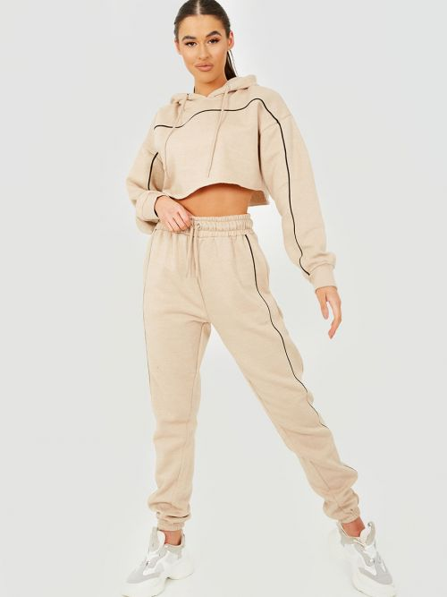 Dara Piping Detail Cropped Hoodie & Jogger Co-ord In Stone