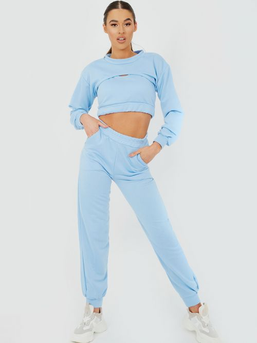 Venny 3 Piece Cut Out Crop Top Co-ord Set In Blue