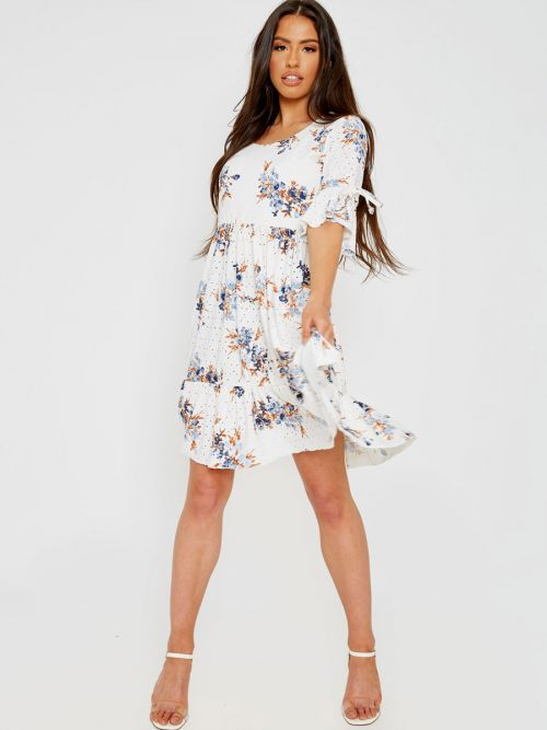 Lynsey Anglaise Floral Print Frill Dress In Cream