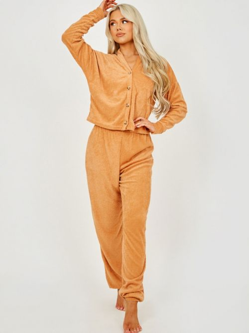 Carly 3 Piece Towelling Co-ord Set In Camel