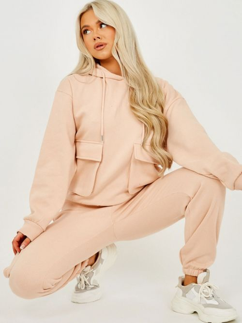 Jullia Utility Pocket Hooded Top & Trouser Fleece Co-ord In Nude