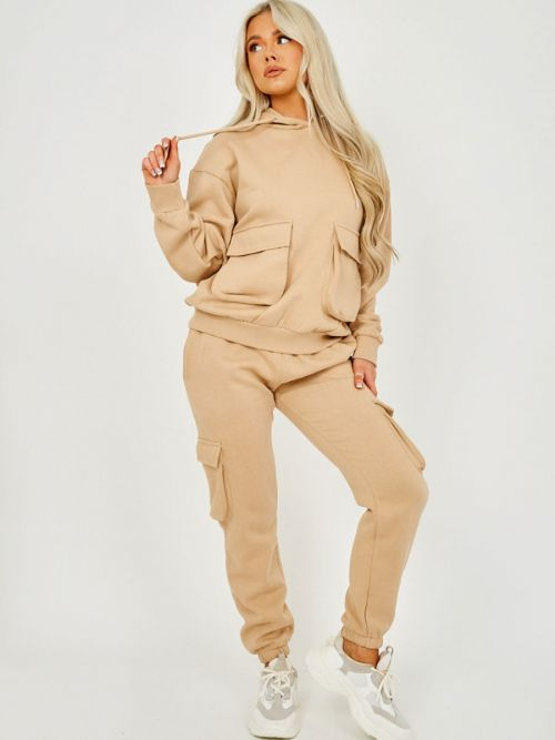 Jullia Utility Pocket Hooded Top & Trouser Fleece Co-ord In Stone