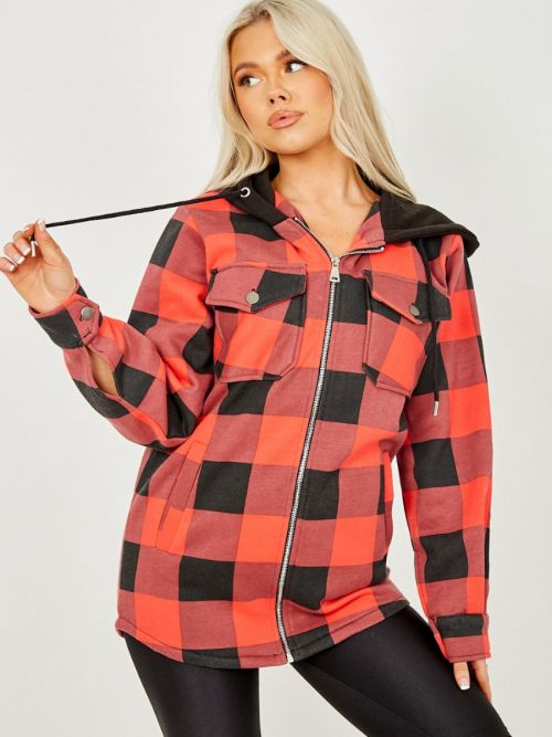 Lisa Thick Checked Shacket With Zip & Hood In Red