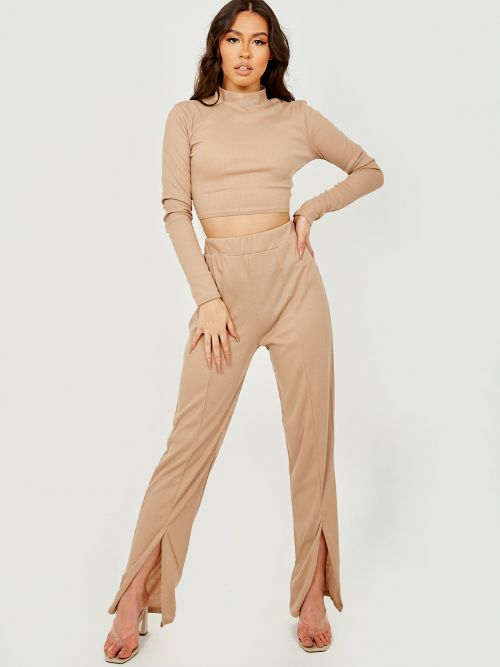 Vivian Tie Knot Back Ribbed Co-ord In Stone