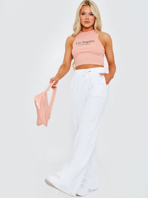 Yasmine Los Angeles Ribbed Vest Crop Top In Pink