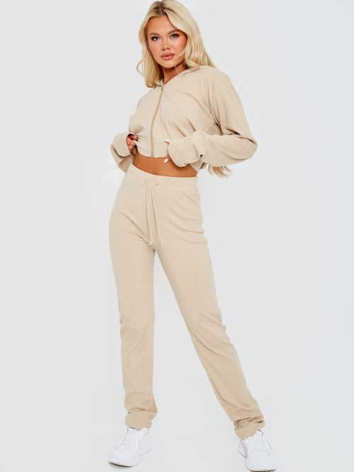 Kaity Ribbed Zip Up Hoodie & Trouser Co-ord In Stone
