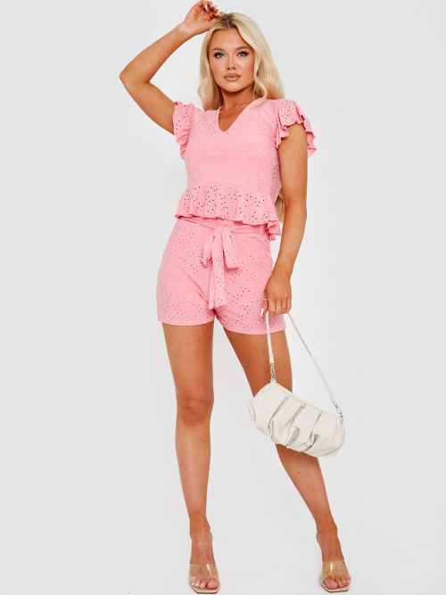 Caidi Anglaise Frill Top & Belted Shorts Co-ord In Pink