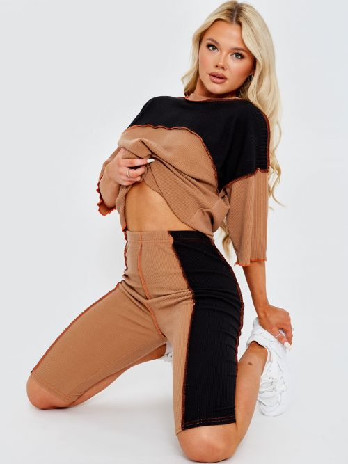 Bexy Colour Block Stitch Detail Top & Shorts Co-ord In Mocha