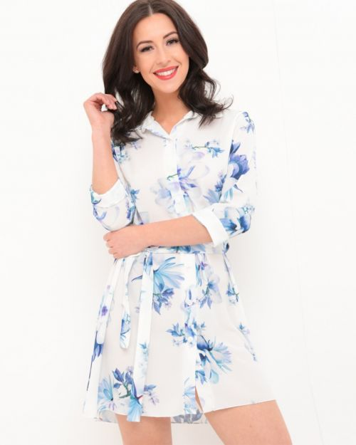 Bella Floral Shirt Dress In White