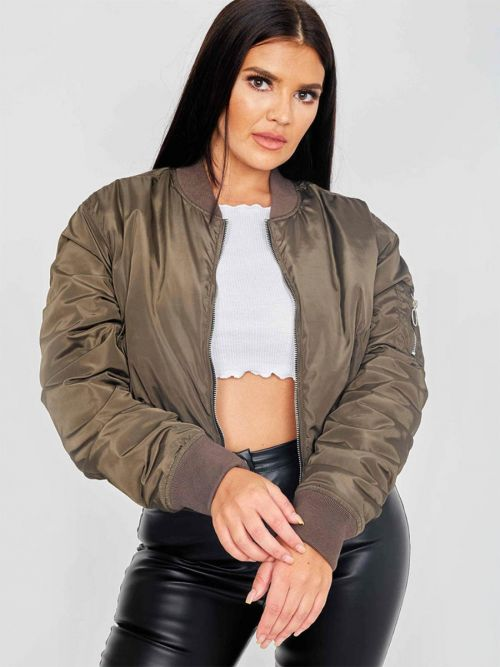 Meg Pull-Ring Zip-Up Bomber Jacket In Khaki