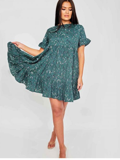 Jasmin Abstract Print Frill Tiered Smock Dress In Green